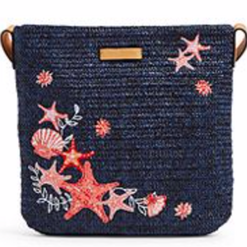 Vera Bradley Straw Crossbody - Navy Sea Life