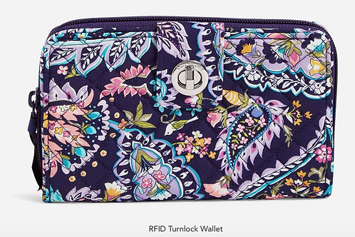 RFID Turnlock Wallet French Paisley