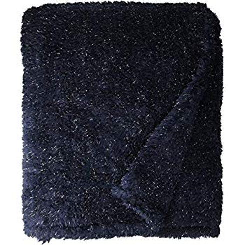 Plush Shimmer Throw Blanket Classic Navy With Silver