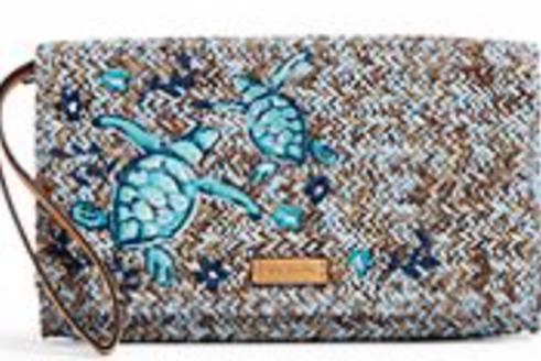 Vera Bradley RFID Straw Beach Wristlet - Mint Brown Sea Life