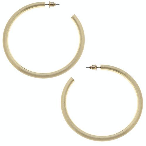 Ivy Hoop Earrings in Gold Satin