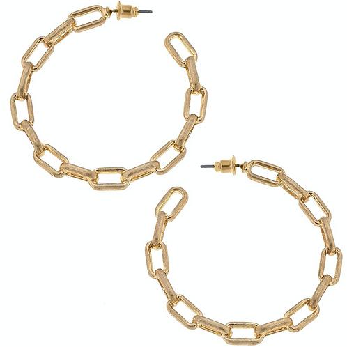 Felicia Frozen Chain Link Hoop Earrings in Worn Gold