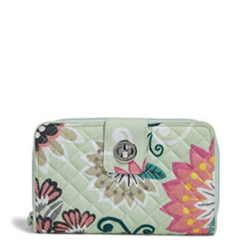 Iconic RFID Turnlock Wallet Mint Flowers