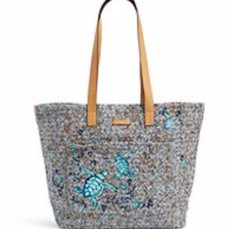 Vera Bradley Front Pocket Straw Tote - Mint Brown Sea Life