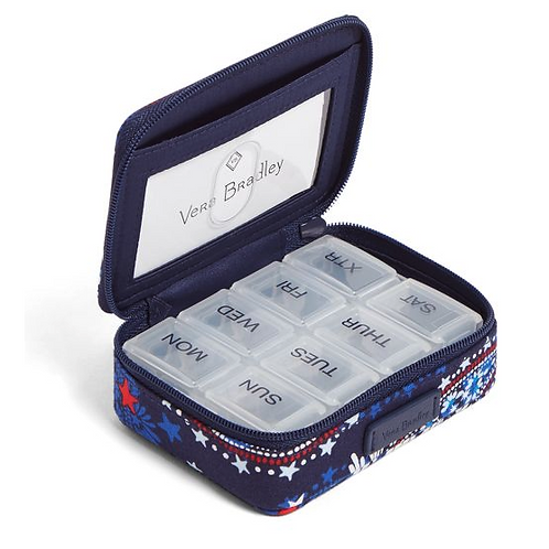 Iconic Travel Pill Case Fireworks Paisley