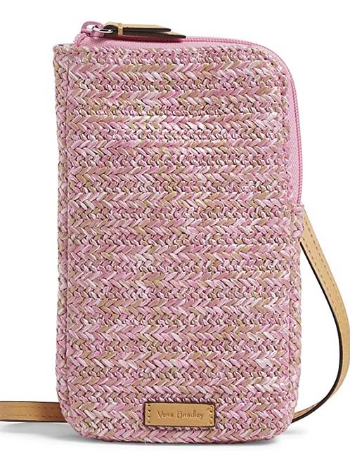 Vera Bradley Straw Cellphone Crossbody - Pink Cherry
