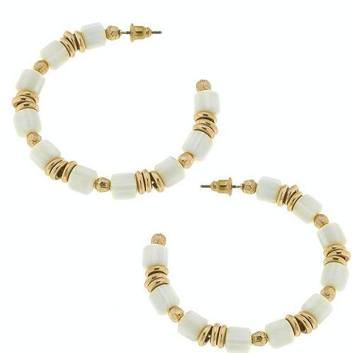 Penelope Beaded Hoop Earrings in Ivory