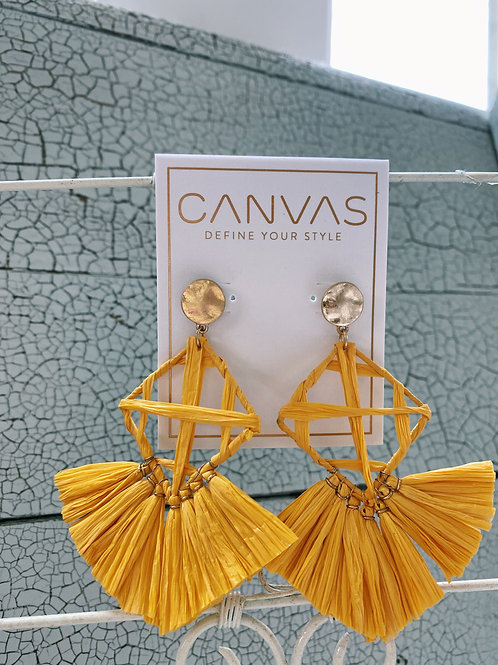 Calista Statement Earrings - Yellow