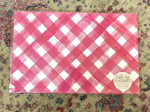 Pink Check Paper Placemat (20pk)