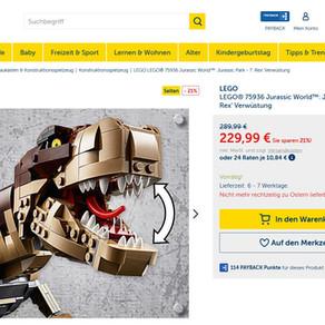 LEGO 75936 Jurassic Park: T. Rex' Verwüstung im Angebot für 199,44 Euro inkl. Versand!