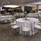 Ghost Chairs with Round Table & Linens