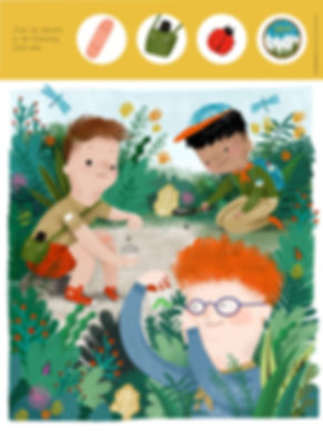 Mijke Coebergh, boyscouts kids magazine illustration