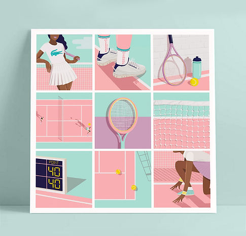 Mijke Coebergh, tennis illustration, print illustratie illustrator