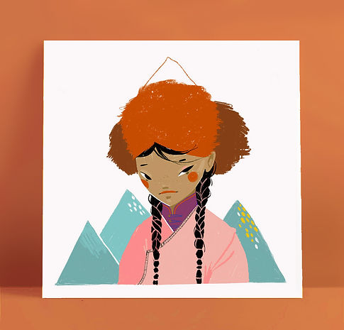 Mijke Coebergh, mongolian tribe girl illustration