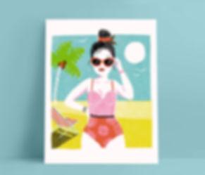 Mijke Coebergh, summer beach lady illustration, print illustratie illustrator
