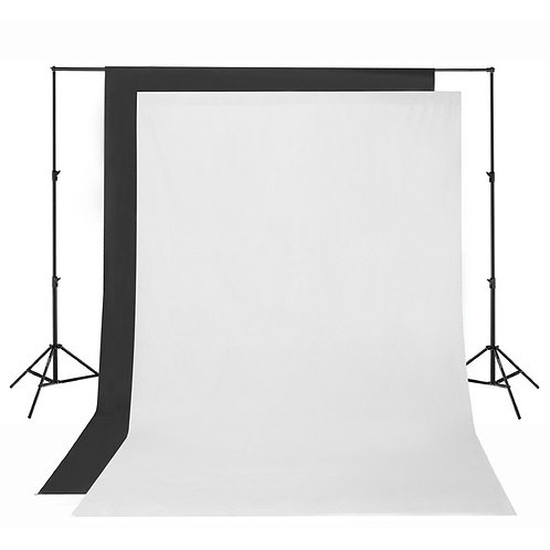 9 feet white backdrop with pole with pole/ 9呎白背景布連架