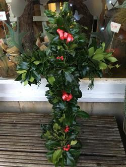 Christmas Holly Cross