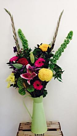 Zinc Jug with seasonal flowers!