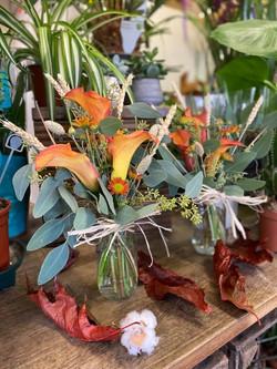 other1gorgeous orange calla lily jar arrangements for sale7