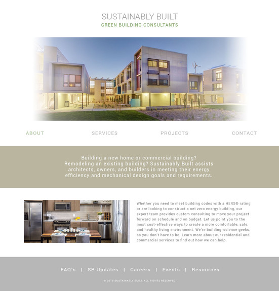 Sustainably Built Site Redesign Mockup Home Page