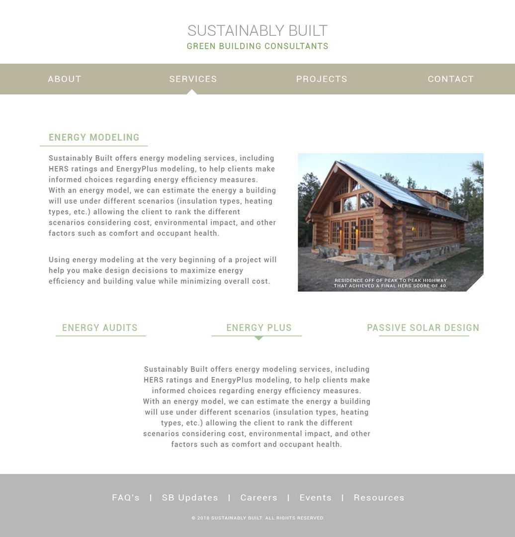 Sustainably Built Site Redesign Mockup Energy Modeling Page