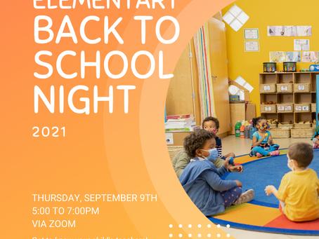 Elementary News: Back to School Night