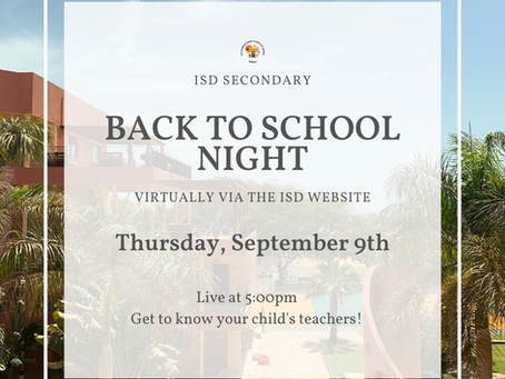 Secondary News: Back to School Night