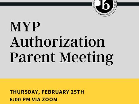 MYP Authorization Parent Meeting