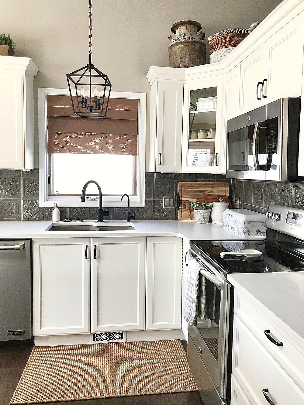 Modern Farmhouse Kitchen Makeover | Repainted Cabinets and Unique Backsplash