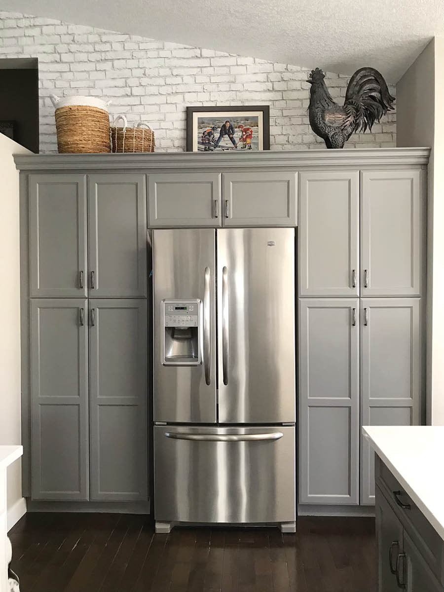 Modern Farmhouse Kitchen Makeover | Large Fridge in Middle of Repainted Grey Cabinets
