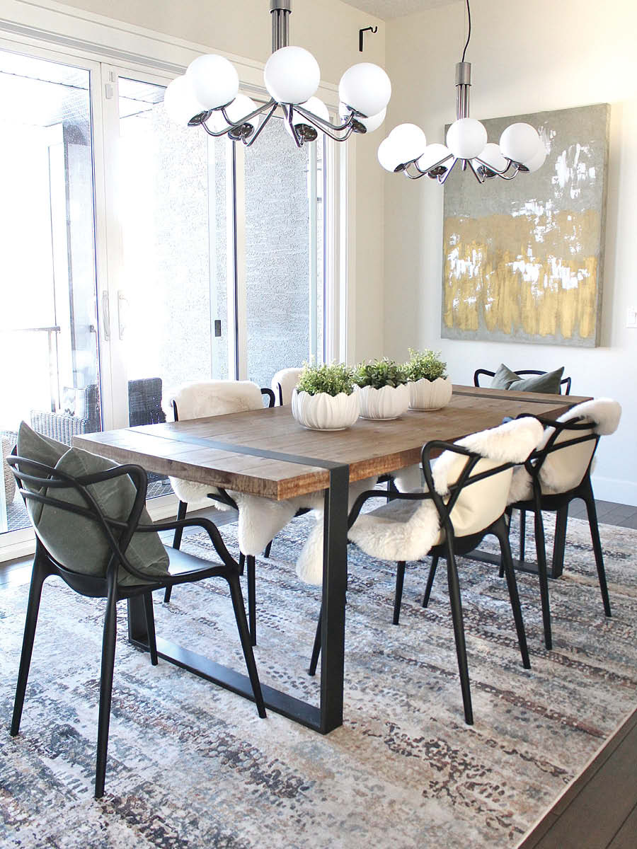 Kitchen Dining Area Makeover   Home Staging   6 Person Dining Table with Two Modern Chandeliers