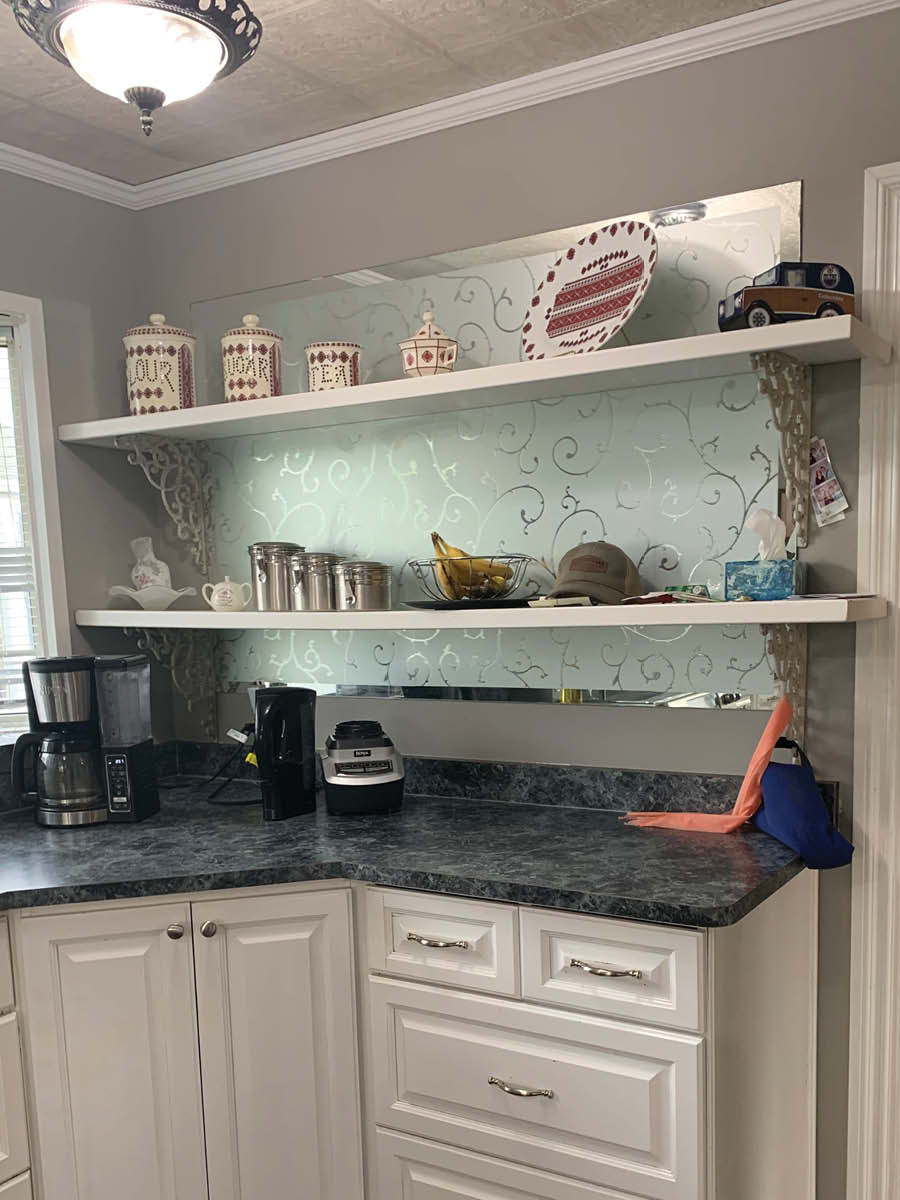 DIY Kitchen Transformation | Before Photo | Mirror Behind Open Shelves