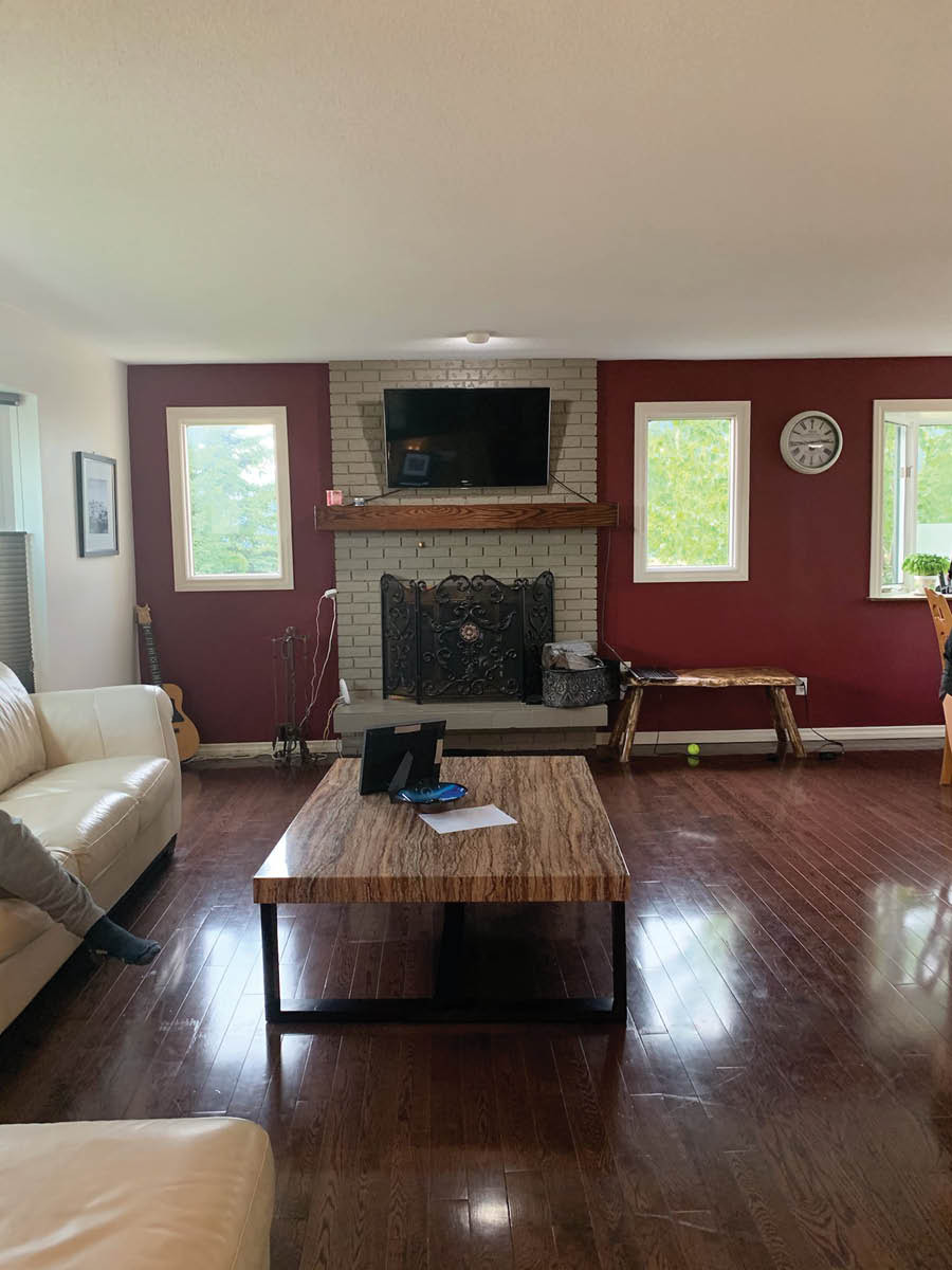 Red Paint Wall with Fireplace | Dark Wood Floors | DIY Living Room Transformation