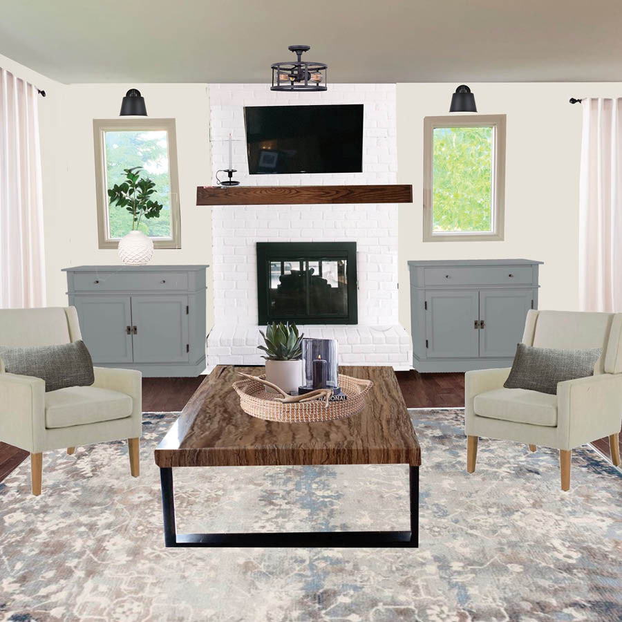 E-Design Visualization of Living Room with Two Windows on Each Side of a Fireplace