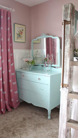 DIY light green dresser for little girl.