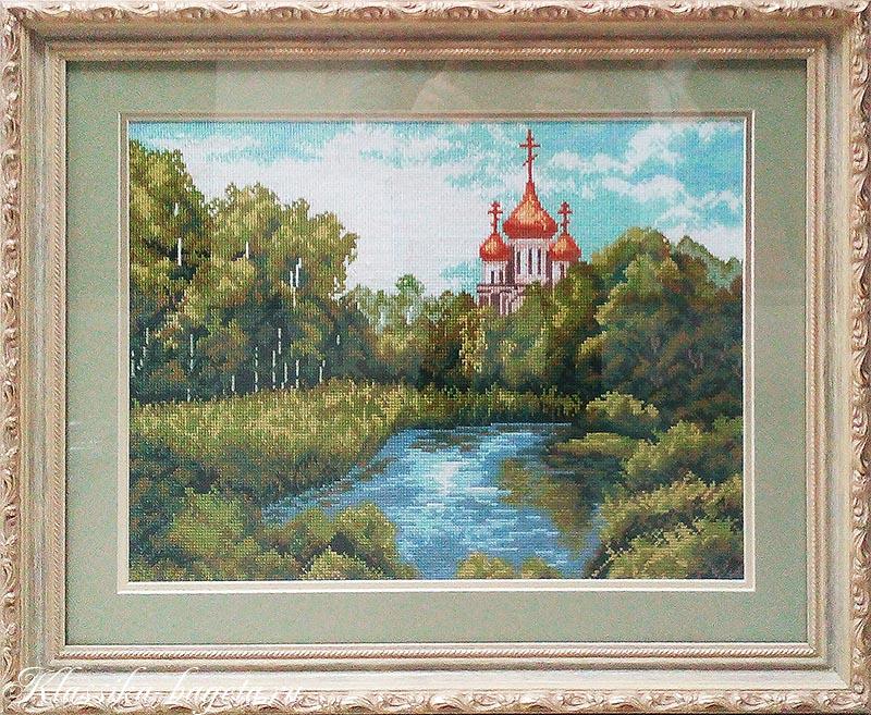 Оформление вышивки крестом_Церковь в лесу