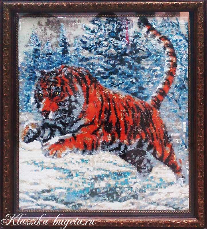 Оформление вышивки бисером_Тигр