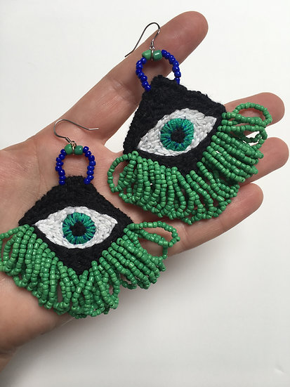 Hand embroidered & beaded EYE-rings with green bead fringing