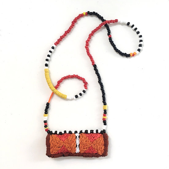 One of a kind embroidered pendant necklace