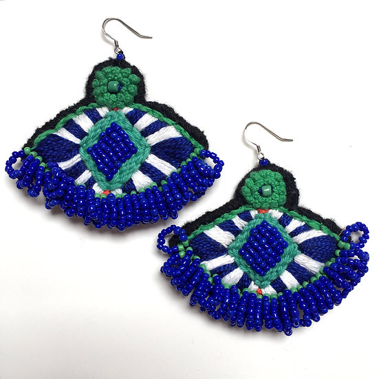 Hand embroidered & beaded Totem earrings
