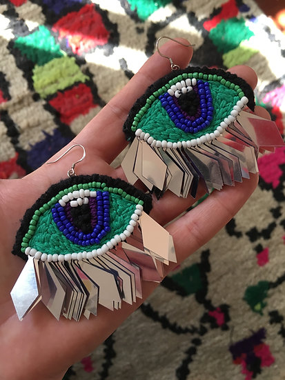 One of a kind hand embroidered EYE-rings with sequin fringing