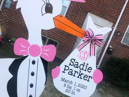 Baby Stork MD (240)863-2873 ~ Monogram Stork Birth Announcement ~ Baltimore Maryland