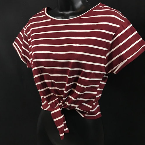 Strip Tee (Burgundy)