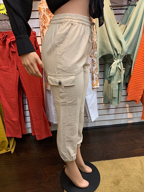 Evie Cargo Pants (Khaki)