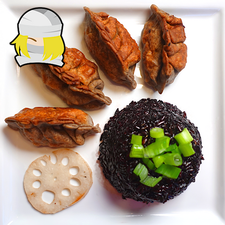 SHEIK - Pumpkin & Lotus Dumplings with Black Rice