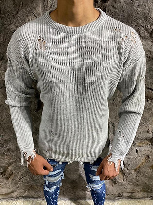 Grey Distressed Sweater
