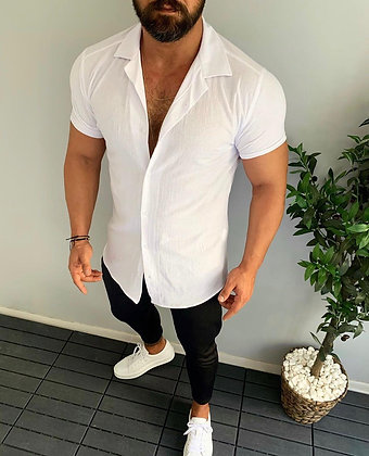 Solid White Short Sleeve Button Up
