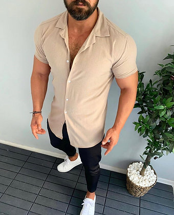 Tan Short Sleeve Solid Button Up