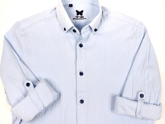 Light Blue Seersucker Dress Shirt
