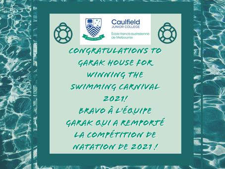 GARAK WINS THE SWIMMING CARNIVAL / GARAK REMPORTE LA COMPÉTITION DE NATATION